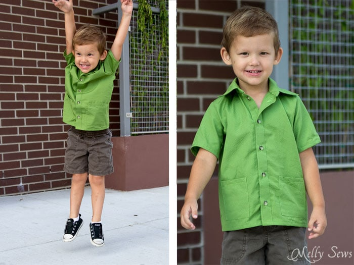 Jump and play in the Bookworm Button Up Shirt Sewing Pattern for Boys and Girls by Blank Slate Patterns