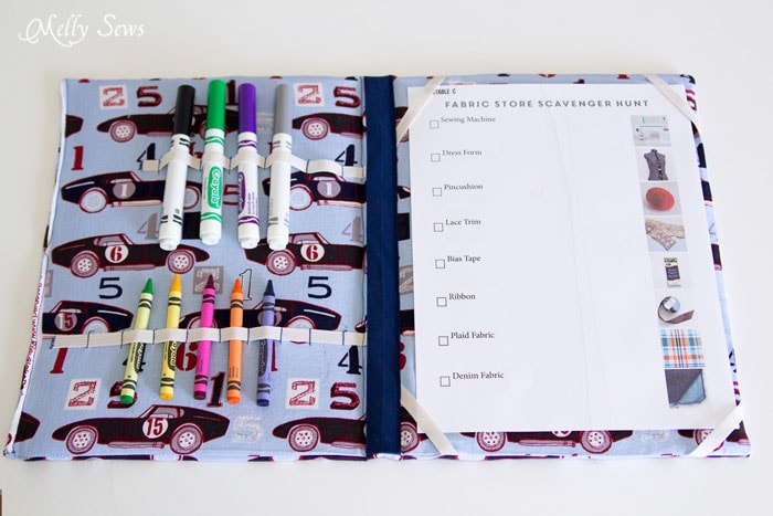 Kids Drawing Case can hold coloring book or coloring pages and crayons - Melly Sews