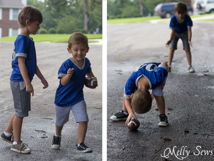 Playing football in mom made jerseys