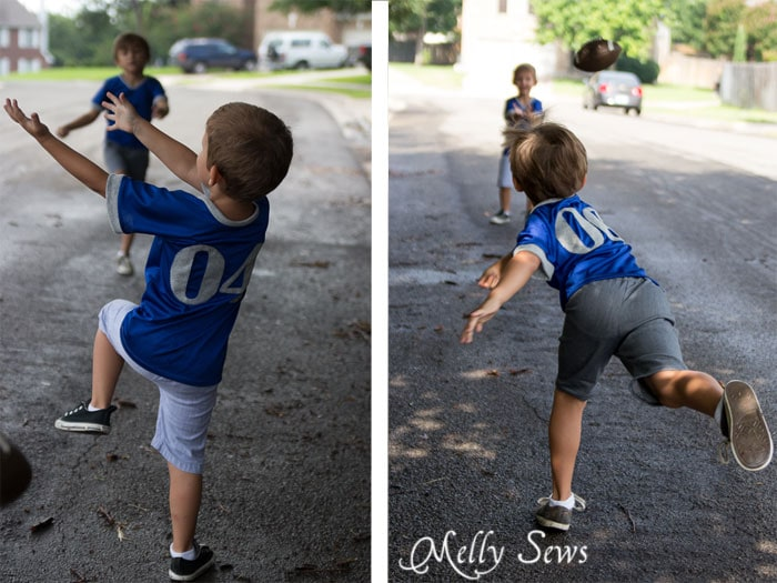 Street football game in cute handmade jerseys