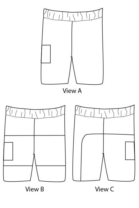 Line drawing for Salt Water Swim Trunks Sewing Pattern - Blank Slate Patterns