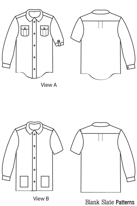 Line Drawings View A&B - Hi-Lo Hem on View C - Bookworm Button Up Sewing Pattern for Boys and Girls - Blank Slate Patterns