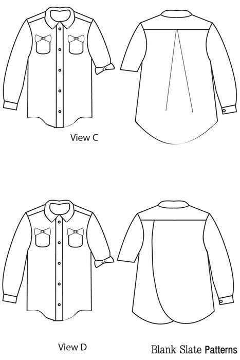 Line Drawings View C&D - Hi-Lo Hem on View C - Bookworm Button Up Sewing Pattern for Boys and Girls - Blank Slate Patterns