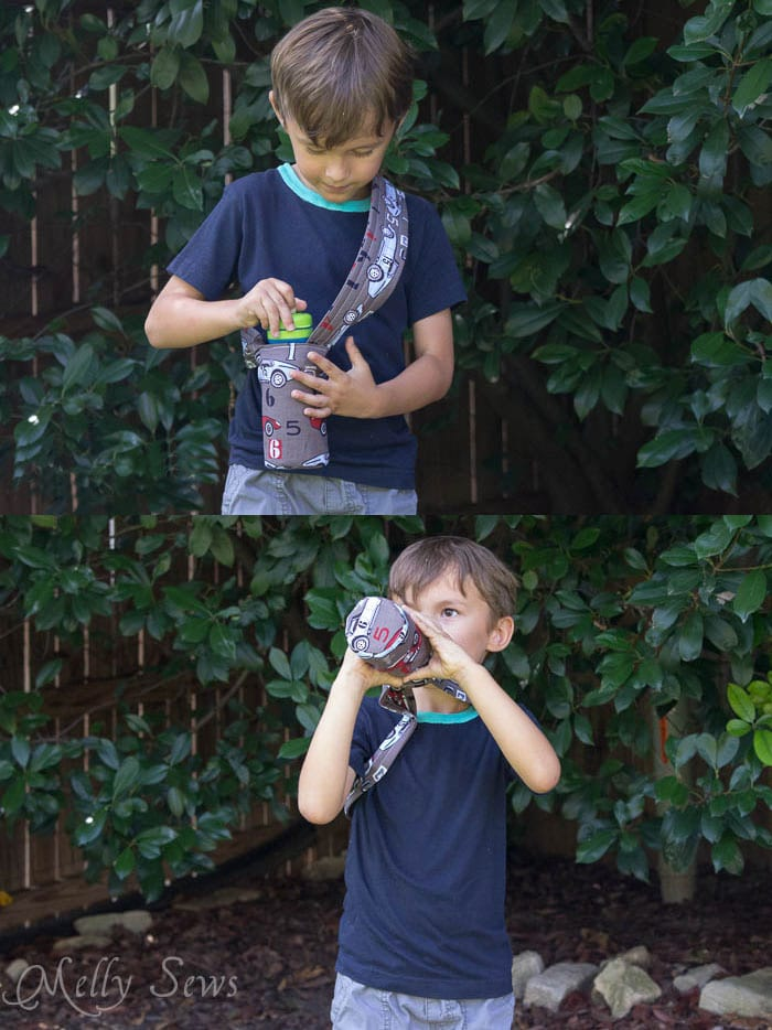 Drink without taking the bottle from the holder - Melly Sews