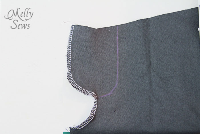 Sew a zip fly - finish raw edges
