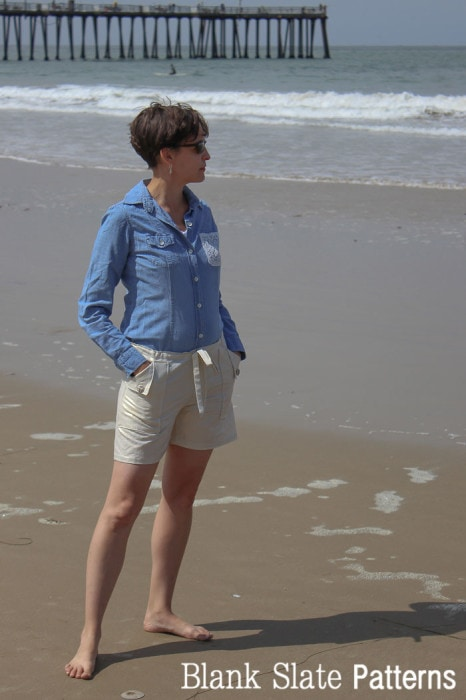 Chambray and linen shorts - Oceanside Shorts Sewing Pattern by Blank Slate Patterns