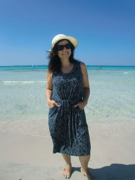 Catalina Dress Tank version on the beach - pattern by Blank Slate Patterns