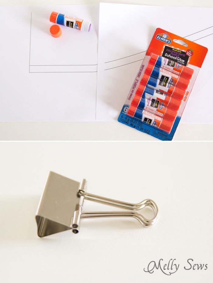 Glue sticks and binder clips - school supplies for sewing