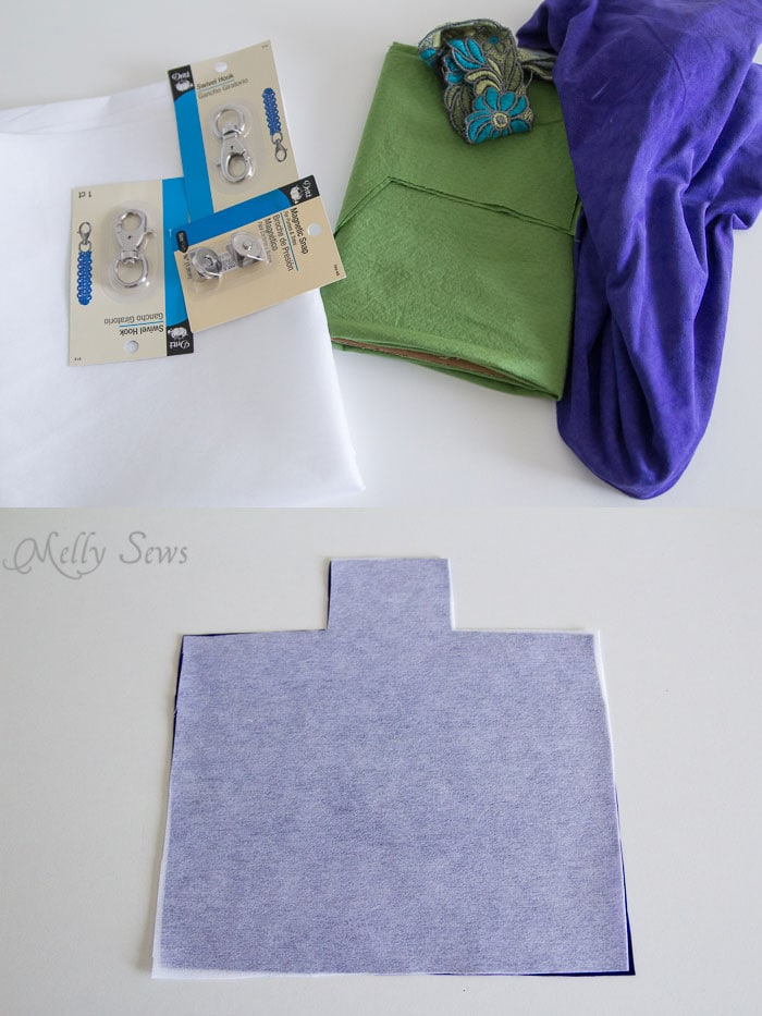 Materials - Suede Clutch Tutorial with free pattern - Melly Sews