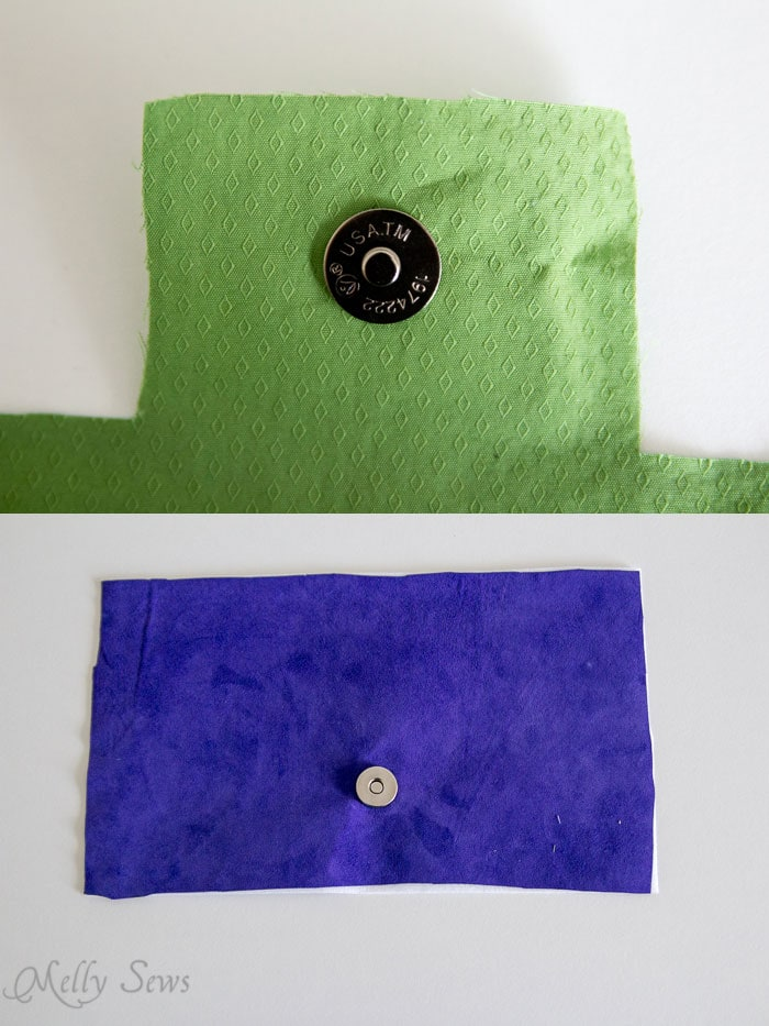 Magnetic purse clasps installed - Suede Clutch Tutorial with free pattern - Melly Sews