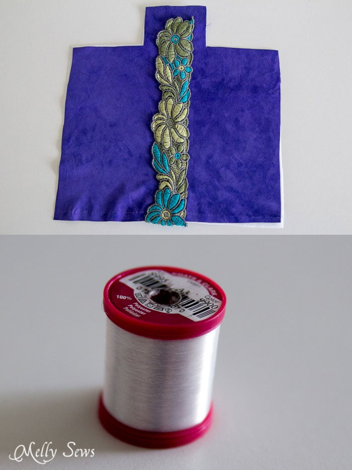 Sew trim on with invisible thread - genius! - Suede Clutch Tutorial with free pattern - Melly Sews