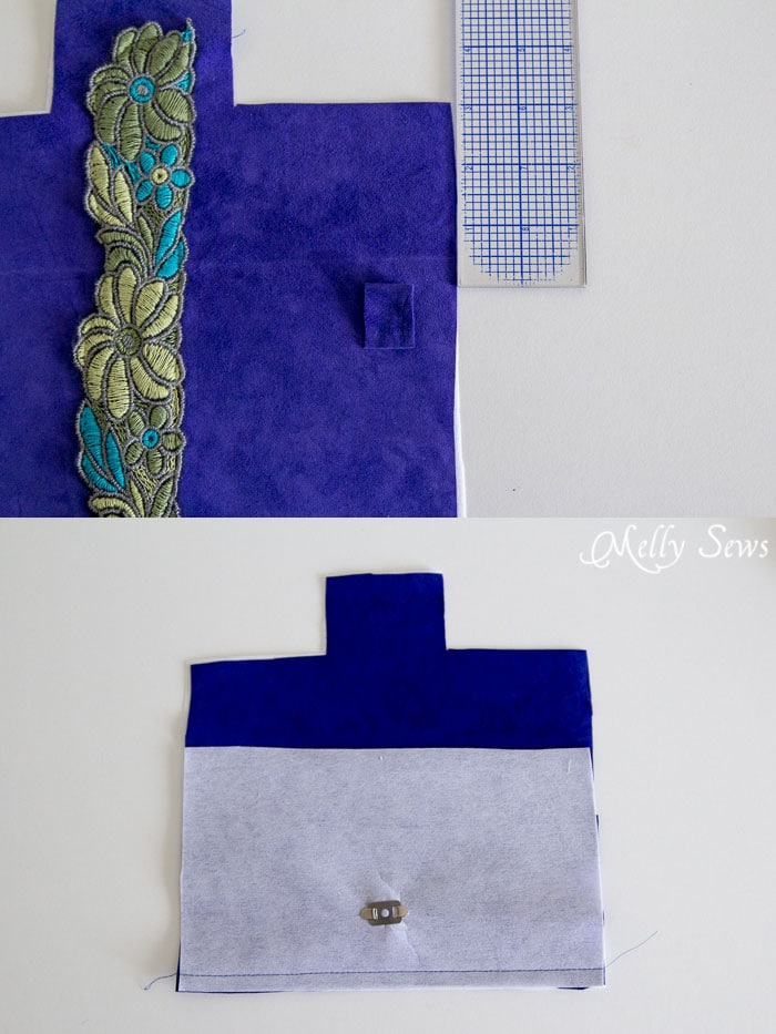 Strap Loops - Suede Clutch Tutorial with free pattern - Melly Sews