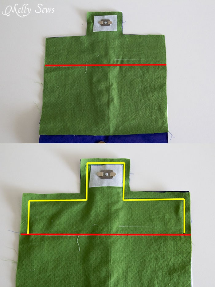 Sew flap - Suede Clutch Tutorial with free pattern - Melly Sews