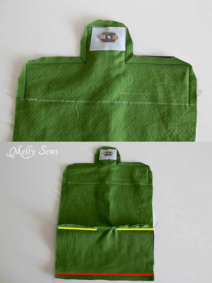 Clip corners and sew lining - Suede Clutch Tutorial with free pattern - Melly Sews