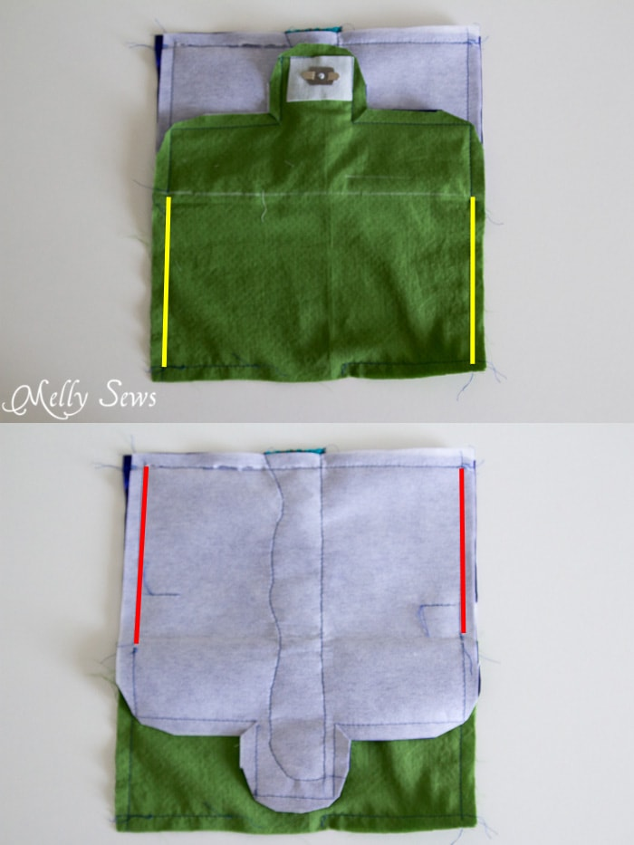 Sew side seams - Suede Clutch Tutorial with free pattern - Melly Sews