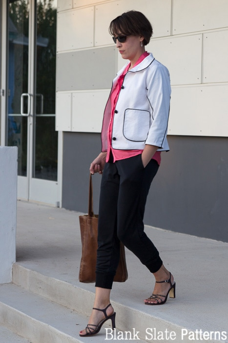 Business casual look - comfy knit track pants, twill jacket, silk blouse and heels - 8 Days a Week sewing patterns by Pattern Anthology