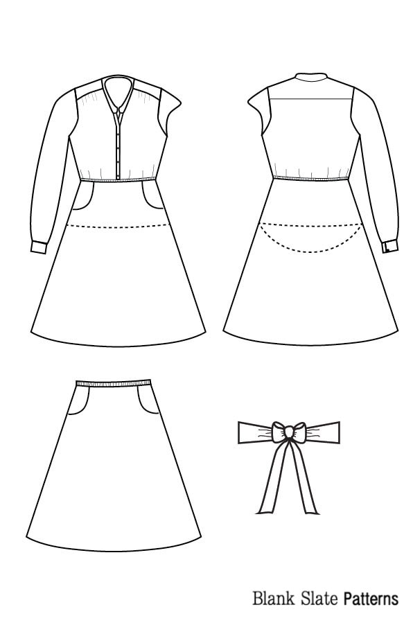 Line Drawing - Marigold Sewing Pattern by Blank Slate Patterns