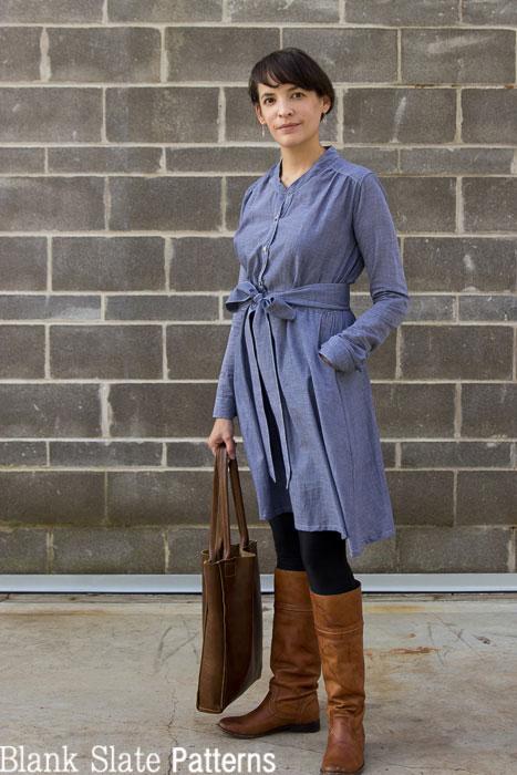 Fall dress inspiration - chambray, leggings and boots - Marigold Sewing Pattern by Blank Slate Patterns