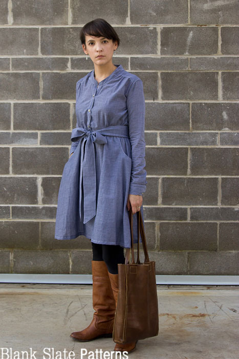 Chambray dress + leather tote and boots = fall outfit - Marigold Sewing Pattern by Blank Slate Patterns
