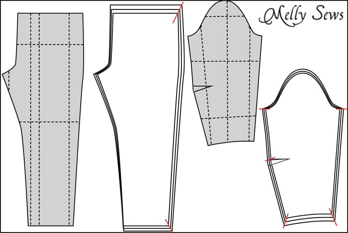 Graded pants and sleeve patterns - How to make Sewing Patterns Bigger (or smaller) - Melly Sews
