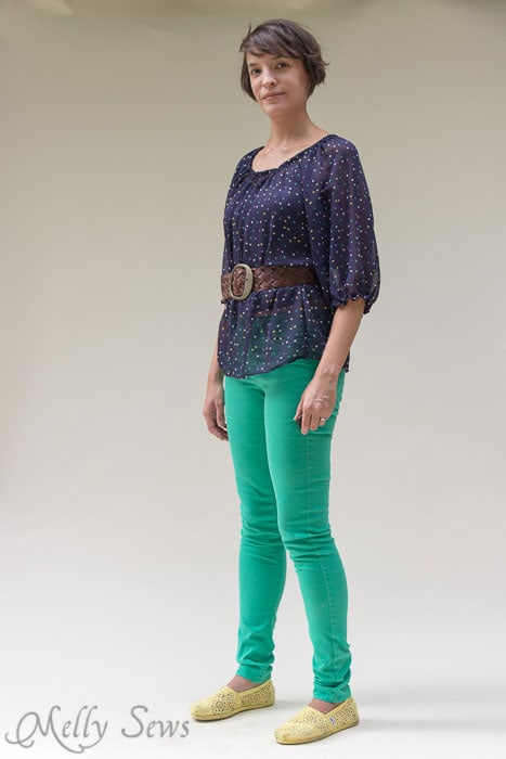 Styled with a belt and green skinny jeans - Women's Peasant Top Pattern - Sew a Peasant Top - Melly Sews