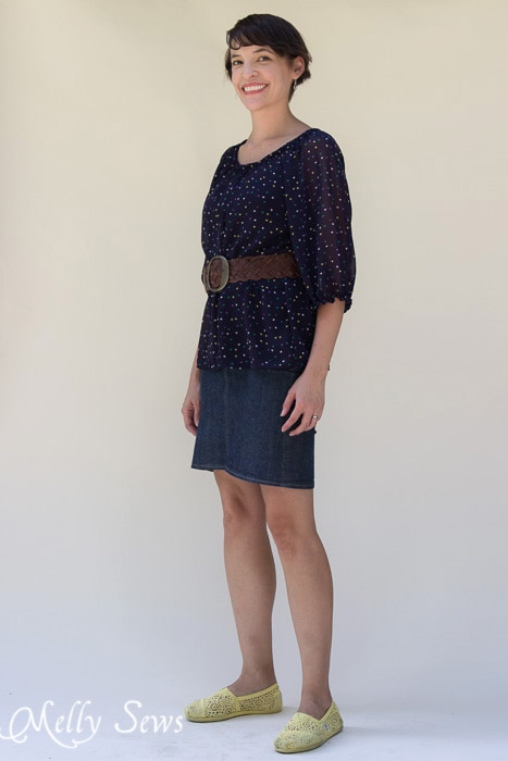 Styled with a belt and a short denim skirt - Women's Peasant Top Pattern - Sew a Peasant Top - Melly Sews