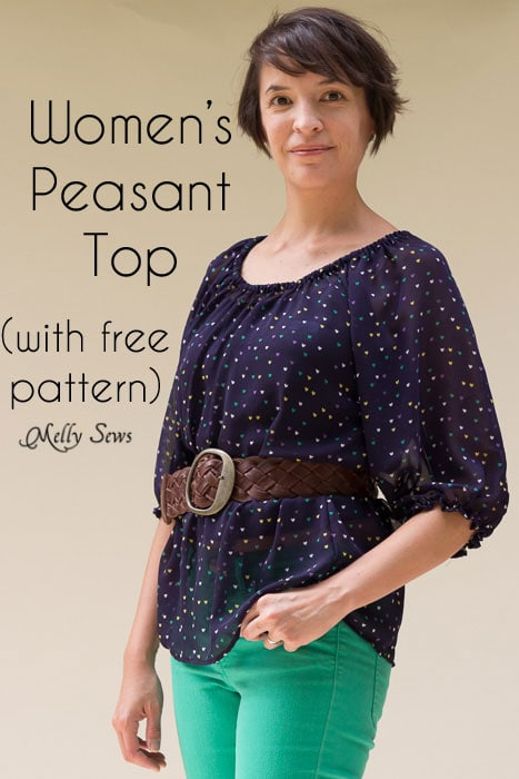 57a16df6fc30c Women s Peasant Top Pattern - Sew a Peasant Top - Melly Sews