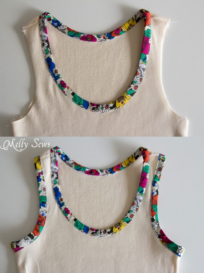 Step 5 - Bias Trim Tank Top Tutorial with free pattern - Melly Sews