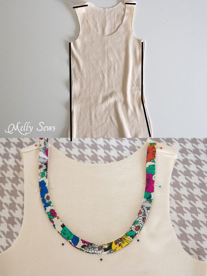 Step 1 - Bias Trim Tank Top Tutorial with free pattern - Melly Sews