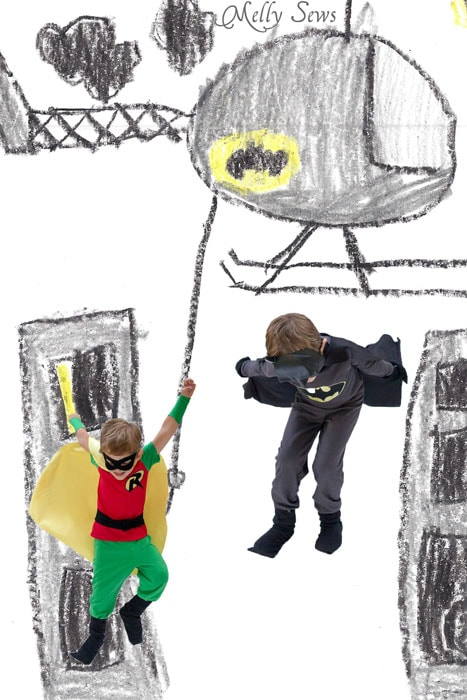 Put your kids in their drawing - Batman and Robin Costumes in Gotham City - Melly Sews