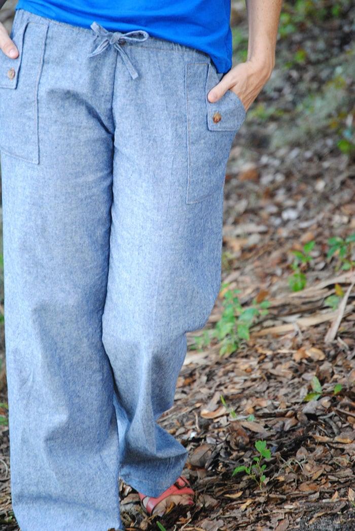 Close Up - Oceanside Pants by Blank Slate Patterns sewn by Dandelion Drift