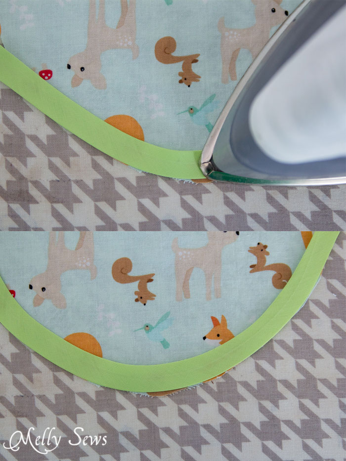 Iron bias tape into a curve before using it to hem - Melly Sews