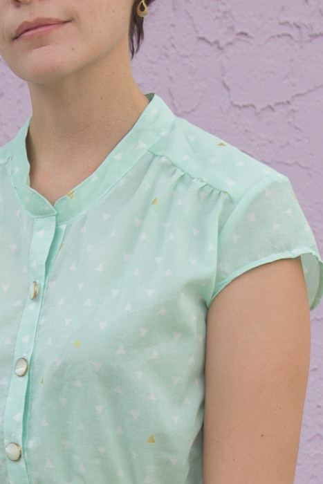 Close up - Marigold Peplum by Blank Slate Patterns sewn by Melly Sews