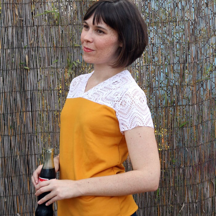 Lace yoke on Juniper Jersey pattern by Blank Slate Patterns sewn by Dixie DIY