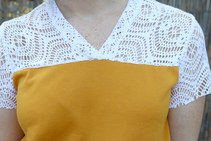 Lace mesh close up - Juniper Jersey pattern by Blank Slate Patterns sewn by Dixie DIY