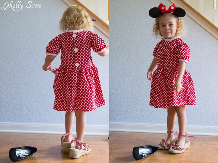 Playing Dress Up - Minnie Mouse dress - Fiesta Frock dress for girls with free pattern - Melly Sews