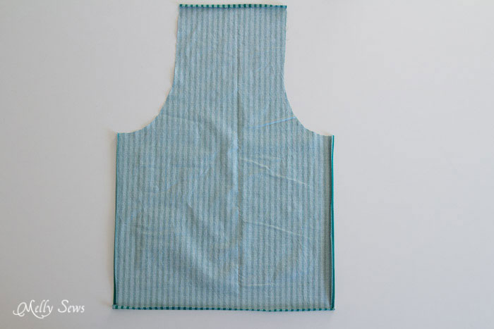 Cut out fabric, press hems - How to sew an apron - Easy tutorial by Melly Sews