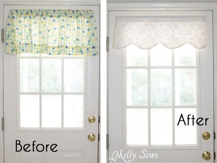 Before and After - How to sew valances - tutorial for a scalloped valance - Melly Sews