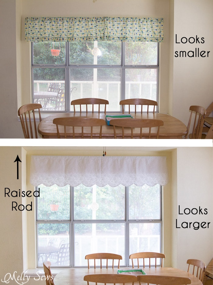 How to make your windows look bigger - How to sew valances - tutorial for a scalloped valance - Melly Sews