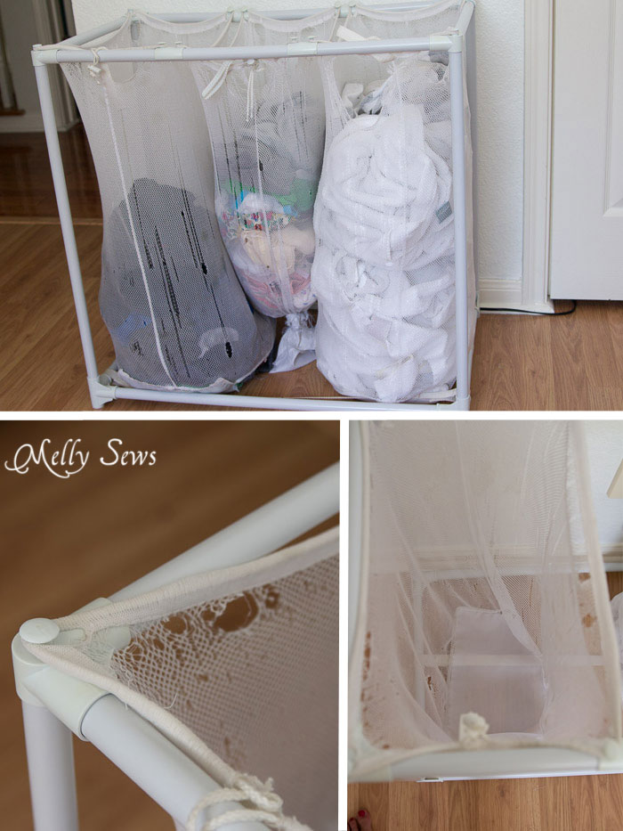 Old torn laundry bags