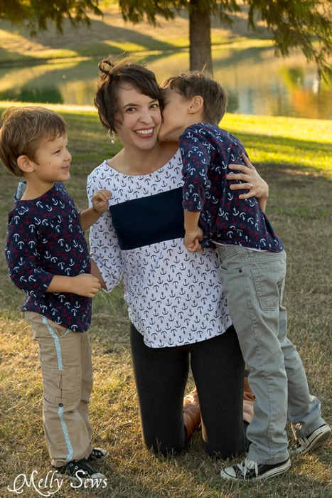 Matching mother son tops - Shoreline Boatneck sewing pattern on her, Beachy Boatneck sewing pattern on them - Melly Sews