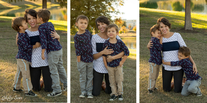 Mom and boys photos - Matching mother son tops - Shoreline Boatneck sewing pattern on her, Beachy Boatneck sewing pattern on them - Melly Sews