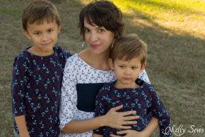 Boys want to have matching clothes sometimes too - Matching mother son tops - Shoreline Boatneck sewing pattern on her, Beachy Boatneck sewing pattern on them - Melly Sews