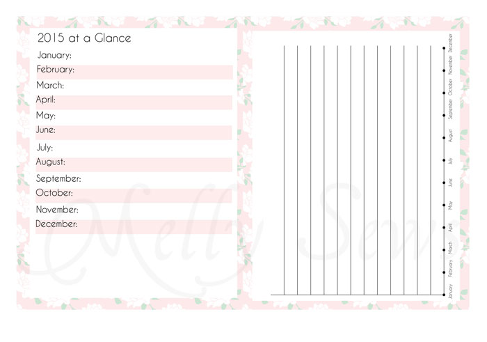 Yearly Overview and Bar Graph Tracking pages - Blog Planner - Melly Sews