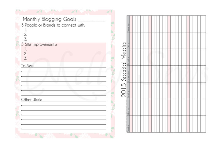 Monthly Goals and Social Media Planning - Blog Planner Pages - Melly Sews