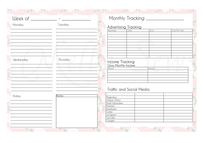 Daily To Do lists and Monthly Tracking - Blog Planner Pages - Melly Sews