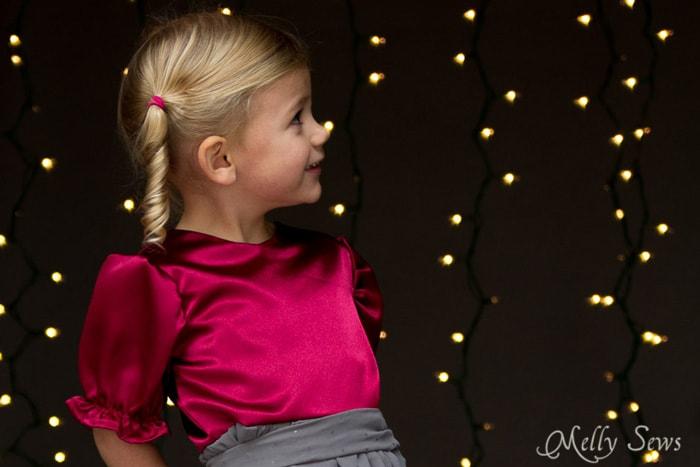 Cute! Satin and chiffon girls holiday dress - Melly Sews
