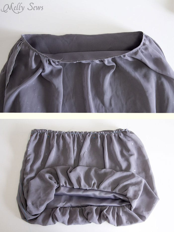 Step 2 - gather bottom of skirt - Sew a Christmas dress - with a free pattern - Melly Sews
