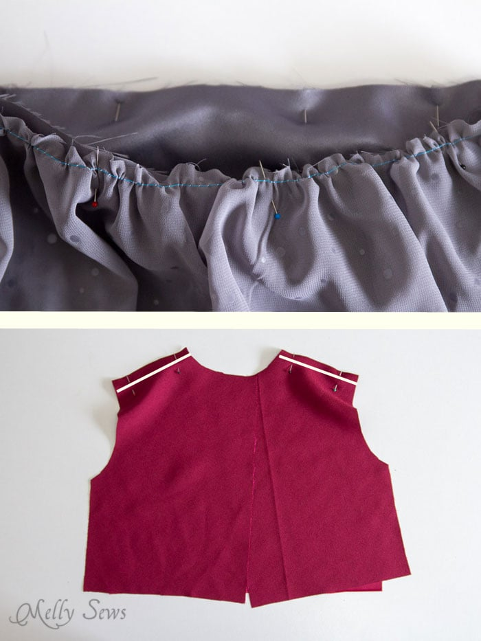 Step 3 - gather skirt top - Sew a Christmas dress - with a free pattern - Melly Sews