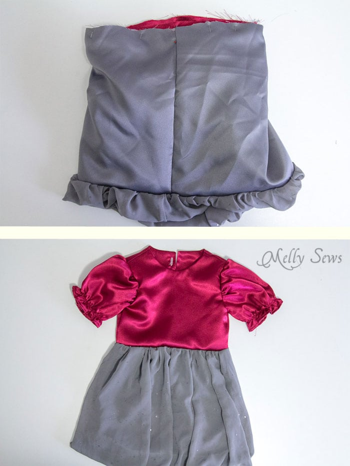 Step 8 - attach skirt and bodice - Sew a Christmas dress - with a free pattern - Melly Sews